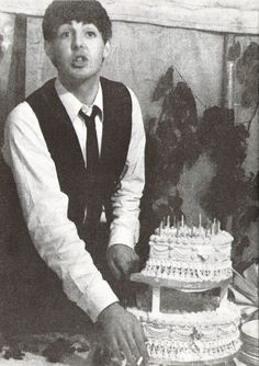 Paul Mccartney in 1963, on his 21st birthday that was held in his Aunt Jin's garden!