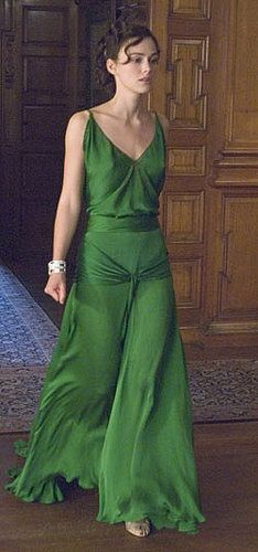 1930's Fashion - Keira Knightley as Cecilia Tallis in Atonement - Emerald green silk evening gown with spaghetti straps and bias cut bodice - Costume design by Jacqueline Durran