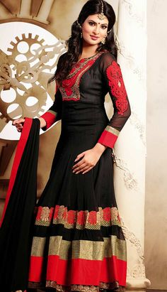 Buy Online Beautiful Traditional Black Chiffon Anarkali Dresses  #AnarkaliDresses Link- http://alturl.com/bwb37