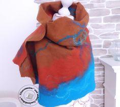 Filzschals - Schal Stola gefilzt in braun-rost-türkis - ein Designerstück von SweetDecor bei DaWanda