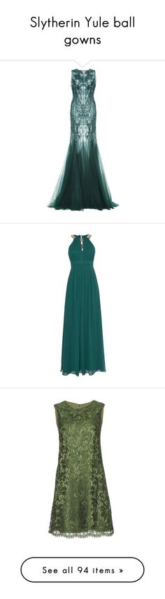 """Slytherin Yule ball gowns"" by weeby ❤ liked on Polyvore featuring dresses, gowns, long dress, green, emerald, tulle gown, green floral dress, beaded evening gowns, beaded dress and a line dress"