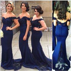 Cheap Lace Navy Blue Bridesmaid Dresses