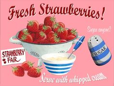 New Retro Fresh Strawberries # 2, Vintage Style Metal Wall Plaque Sign | eBay