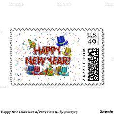 Happy New Years Text w/Party Hats and  Confetti postage  #newyearscelebration #gravityx9 #Zazzle