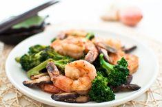 Shrimp, broccoli, and shitake mushroom stir-fry recipe from Cook Smarts