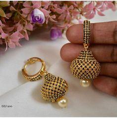 Trendy black stones ball ear rings