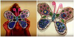 -DIY- Masque papillon de carnaval pour enfants en carton épais et strass/paillettes.