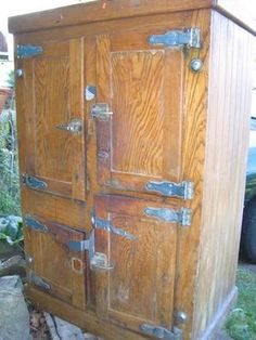 Antique Ice Box.......just like the one in our kitchen when I was little.