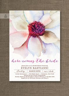 Watercolor Flower Bridal Shower Invitation by digibuddhaPaperie, $23.00