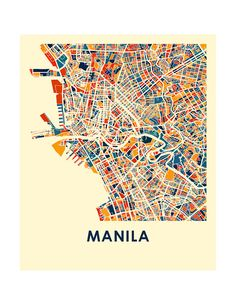 Items similar to Manila Map Print - Full Color Map Poster on Etsy Vintage Maps, Antique Maps, Urban Mapping, Philippine Map, City Map Poster, Abstract City, Travel Posters, Map Posters, Map Design