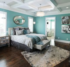 Aqua accent wall with grey...and that fan light!! Teal & turquoise ...