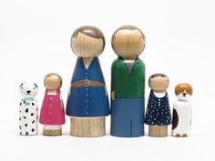 Custom Family of 6 - One of a Kind Hand-Painted Wooden Peg Dolls - Unique Family Portrait. $200.00, via Etsy.