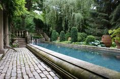 Raised Lap Pool with Coved Borders, Brick Walkway, and Evergreen Landscaping by Karl Gercens
