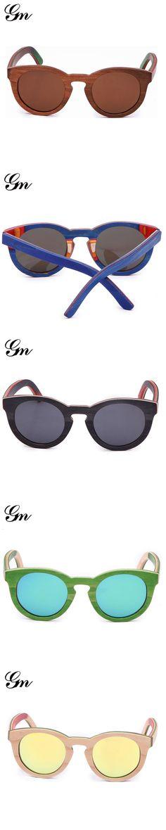 G M 2017 New fashion Products Men Women Skateboard Bamboo Sunglasses Polarized Lens Wooden Frame Handmade Free Shipping