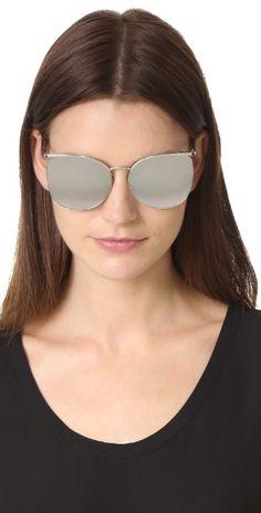 Linda Farrow Luxe Top Rim Platinum Round Sunglasses   SHOPBOP