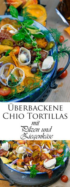 Habt Ihr mal wieder Lust auf Homemade Fastfood? Dann sind die überbackenen Chio Tortillas mit Pilzen und Ziegenkäse mit Chicken Nuggets genau das Richtige!