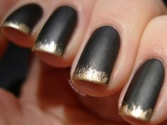 Gold Dipped Make your matte black mani that much more interesting with flecks of gold at the tips.