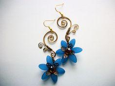 Beautiful blue flower earrings
