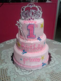 A sweet little girls first birthday cake, by Sweet P's Café in Erin Tn