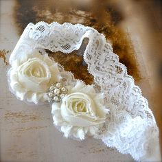 Buff and cream lace headband with pearl and by TutusChicBoutique, $14.50