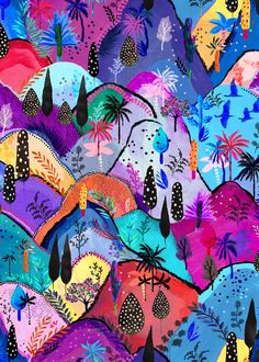 Close up detail of the Matthew Williamson Maraval Hills print. A unique gown - this bespoke print is an ode to the sights and colours of Trinidad - Maraval being a valley in the northern part of the island. Look closely - silhouettes of palms and native caroni birds have been hand-painted against a rainbow of undulating hills. Draping in the bodice and a high split in the skirt give a feminine shape.