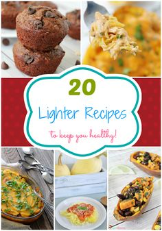 20 Lighter Recipes ~  Many different lighter recipes to help keep you happy and healthy this year.   >Skinny Oatmeal Chocolate Chip Muffins|  >Honey-Lime, Black Bean, Corn Stuffed Sweet Potatoes >Healthy Buffalo Cauliflower Bites  >Buffalo Chicken Spaghetti Squash >Quinoa Salad with Butternut Squash & Dried Cranberries >Spaghetti Squash & Pesto >Mushroom & Onion Soup & MORE!  Recipe Link @: http://www.galonamission.com/20-lighter-recipes/