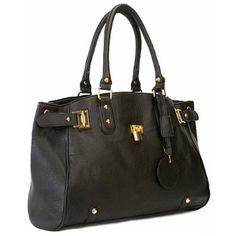 LUCCA Black Glamour Padlock Designer Inspired Shopper Hobo Tote Bag Purse Satchel Handbag w/Shoulder Strap,