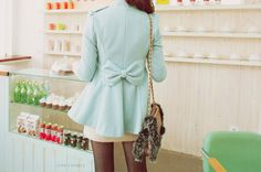 mint coat with back bow <3. These apparently don't exist any more. We'll have to make one.
