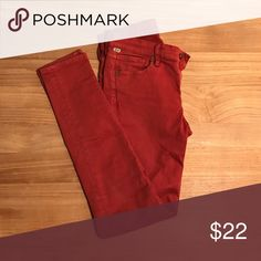 CoH Thompson Medium Rise Cropped Skinny These are very flattering and leg-elongating! The color is a russet or terra cotta red. Nice and neutral. The fabric is 97% cotton & 3% Lycra. Very soft to the touch but strong and forms to the body. Citizens of Humanity Pants Skinny