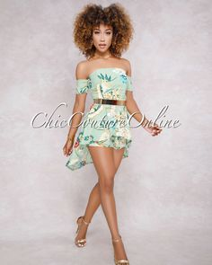 Milano Green Off The Shoulder Neckline Romper Chic Couture Online, Short Sleeves, Long Sleeve, Stylish Outfits, Off The Shoulder, Peplum, Bodysuit, Neckline, Tunic