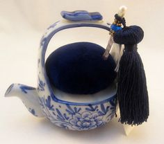 Asian Teapot Pincushion  3 Hatpin with Tassel by practicalelegance, $16.50