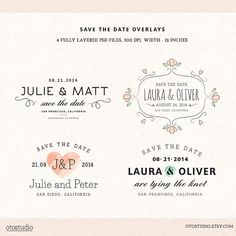 - use the simple one with the swirl effect -  Digital Save the Date overlays  wedding photo card by OtoStudio, $12.00