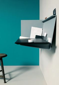 Desk Pad is a minimalist design created by Germany based designer Eric Degenhardt. Desk Pad is a wall mounted bureau with a retractable desk — Designspiration