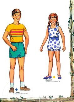 Jason and Elizabeth Walton from The Waltons: Paper Dolls of All 7 Walton Children by Whitman, 1975