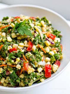 Summer Reboot Salad: Kale + Corn. Sweet Miso Tahini Dressing. Delicious!!!! One of the best kale salads I have had - wouldn't have thought the dressing would be as good as it was.