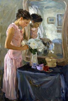 «En el mirrow»;  91х61;  óleo sobre lienzo;  2005.