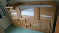 3 Drawer cabin bed in traditional stained pine. Aspenn Furniture believe in solid natural wood handmade furniture which is guaranteed to last. We guarantee our cabin beds for 20 years, we've never had one break! You can design your perfect cabin bed at www.aspennfurniture.co.uk and we'll email back a full quote within a day. To discuss your ideas further contact us on 01937 843386 or ianaspenn@btinternet.com Headboards For Beds, Bunk Beds, Childrens Cabin Beds, Natural Bedding, Linen Bedding, Bedding Decor, Bedding Sets, House Beds, Cozy Bed