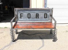 Truck Tail Gate Benches, Reclaimed Wood Furniture, Rustic Wood Bench on Etsy, Car Part Furniture, Automotive Furniture, Automotive Decor, Furniture Design, Automotive Group, Automotive Carpet, Furniture Movers, Truck Tailgate Bench, Truck Bed