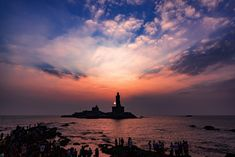 Sunset scene by Vivekananda Rock Memorial & Thiruvalluvar Statue Tourist Places TOURIST PLACES : PHOTO / CONTENTS  FROM  IN.PINTEREST.COM #TRAVEL #EDUCRATSWEB