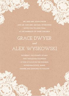 lace and kraft wedding invitation, katharine watson for minted