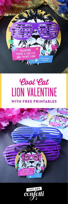 Cool Cat Lion Valentine Printable, Cool Cat Lion Valentine, lion valentine, valentine free printable, free printable, kids valentine, classroom valentine, non-candy valentine, glasses valentine, party animal, party animal valentine, Just Add Confetti, Jus