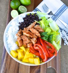 mango, black bean & bbq chicken salad bowl