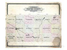 1910, Foster County Outline Map, North Dakota, United States Giclee Print North Dakota, Custom Framing, Outline, The Fosters, Giclee Print, United States, Map, Location Map, Maps