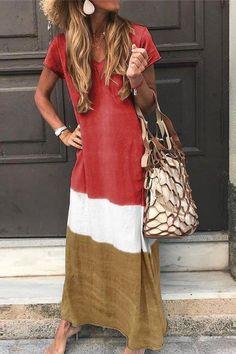 Kinwo Plus Szie Dress,Girls Summer Beach Color Block Sundress V Neck Loose Casual Large Size Oversize Short Sleeved Gradient Print Side Slit Dress