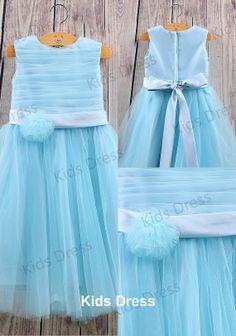 Aline Scoop Tulle Satin Blue Flower Girl Dress With by kidsdress, $37.00
