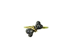 Bones ring gold 18k silver925 black diamonds-FANOURAKIS