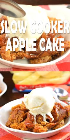 This Slow Cooker Apple Cake is as easy as tossing a few ingredients into your crockpot and letting it do it's thing! Top it with a big scoop of ice cream and serve warm! # Food and Drink videos slow cooker Slow Cooker Apple Cake Crock Pot Desserts, Slow Cooker Desserts, Slow Cooker Recipes, Cooking Recipes, Slow Cooker Cake, Crockpot Ideas, Crock Pots, Easy Desserts, Vegan Recipes