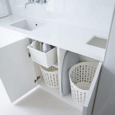 主婦の憧れインテリアをのぞき見♡使いやすくておしゃれな家事室! | folk Plastic Laundry Basket, Organization, Home Decor, Getting Organized, Organisation, Decoration Home, Room Decor, Tejidos, Home Interior Design
