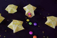 Origami Sterne 3D falten Faltanleitung Lichterkette basteln Sterne selber machen Anleitung DIY kostenlos fertig 5