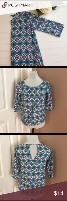 FRANCESCAS Blouse A beautiful blouse of multi spring colors in diamond pattern. Long sleeves, keyhole opening at back.  Bust is 33 in. Top is 22 in long.  Perfect condition.  Smoke free.  Great top for office or add a sweater for another layer. Miami Tops Blouses